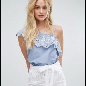 Chambray Cold Shoulder EmbroideredTop -6